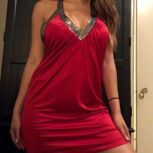 BCBGMAXARIA xs red halter dress